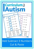 Add Subtract 3 Numbers Cut Paste Missing Addends Autism Special Education