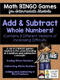 Add & Subtract BINGO Math Game for Intermediate Students -