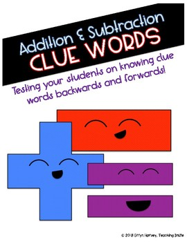 Add/Subtract Clue Word Quiz FREEBIE