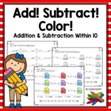 Addition & Subtraction Worksheets With Number Lines (Add! Subtract! Color!)