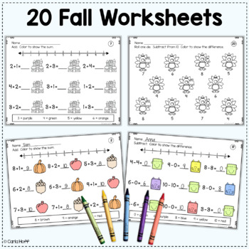 Add! Subtract! Color! All Year! Addition & Subtraction Worksheets (w/in 10)