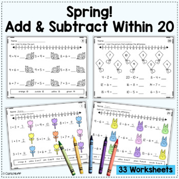 BUNDLE Addition & Subtraction Worksheets w/in 10 and 20 (Add! Subtract! Color!)
