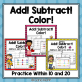 BUNDLE Addition and Subtraction Worksheets Within 10 and 20