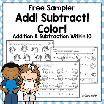 Add! Subtract! Color!  Addition & Subtraction Worksheets w/in 10 - Free!
