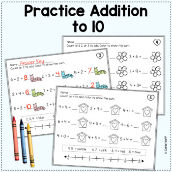 Valentine Addition & Subtraction Worksheets (Add! Subtract! Color! to 10)