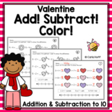 Valentine Addition and Subtraction Within 10 - Worksheets with Number Lines