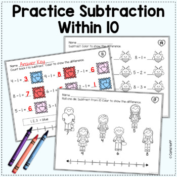 valentine addition and subtraction within 10 worksheets with number lines. Black Bedroom Furniture Sets. Home Design Ideas