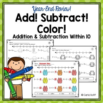 Year-End Review Addition and Subtraction Worksheets for Facts Within 10