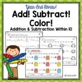 YEAR END Addition and Subtraction Within 10 - Worksheets with Number Lines