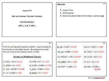 Add & Subtract Decimal Numbers