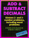 Add & Subtract Decimal Worksheet