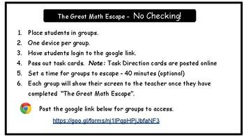 The Great Math Escape - Add & Subtract Decimals