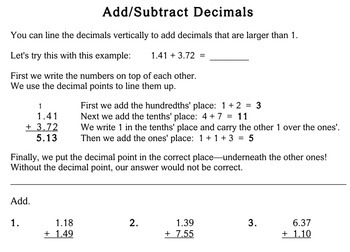 Add / Subtract Decimals, 3rd grade - Individualized Math - worksheets