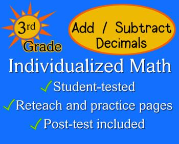 Add / Subtract Decimals, 3rd grade - Individualized Math -
