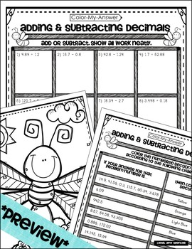 Add & Subtract Decimals - A Color-My-Answer Activity