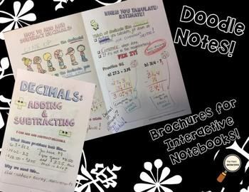 Add & Subtract Decimals - Doodle Note Brochure for Interactive Notebooks