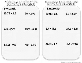 Add & Subtract Decimals - Doodle Note Brochure for Interactive Notebooks