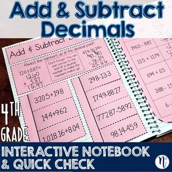 Add & Subtract Decimals Interactive Notebook Activity & Quick Check TEKS4.4A