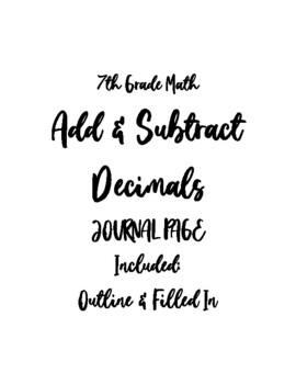 Add & Subtract Decimals Journal Notes PDF