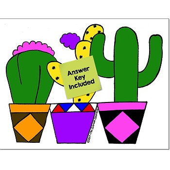 Add & Subtract Decimals Math Practice Cactus Color by Number