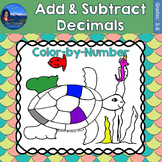 Add & Subtract Decimals Math Practice Under the Sea Color