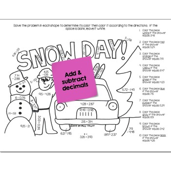 Add & Subtract Decimals Math Practice Snow Day Color by Number