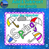 Add & Subtract Decimals Math Practice Spring Showers Color by Number