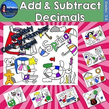 Add & Subtract Decimals Monthly Color by Number Pages