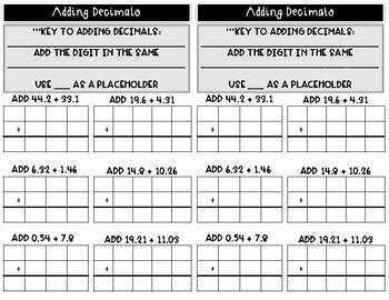 Add & Subtract Decimals Notes