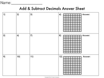 Add & Subtract Decimals Task Cards