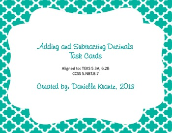 Add & Subtract Decimals Task Cards
