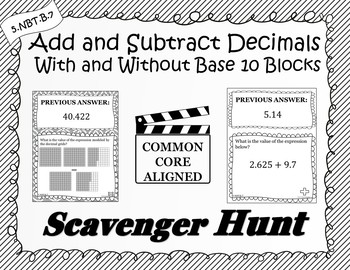Add & Subtract Decimals With & Without Base 10 Blocks-Scavenger Hunt (5.NBT.B.7)