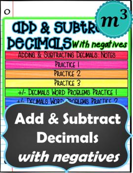 Add & Subtract Decimals with Negatives DIGITAL NOTES & SELF-GRADING Quiz
