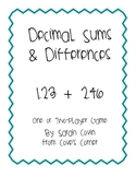 Add & Subtract Decimals
