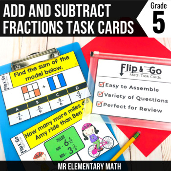 Add & Subtract Fractions - 5th Grade Math Flip & Go Cards