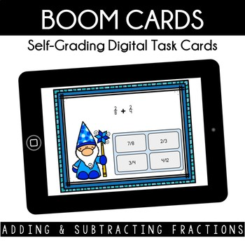 Add & Subtract Fractions - Boom Cards - Winter Theme