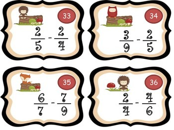 Add & Subtract Fractions Critters