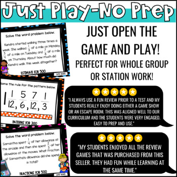 Add & Subtract Fractions Game Show 5th Grade | PowerPoint Review Game Test Prep