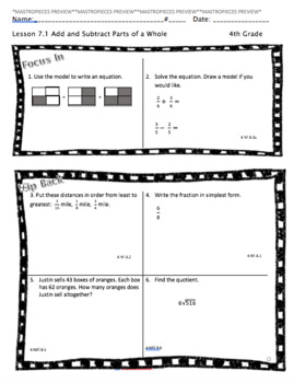 Add & Subtract Fractions Homework (Chapter 7)