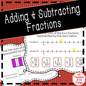 Add & Subtract Fractions (Like Denominators) Boom Cards SOL 3.5