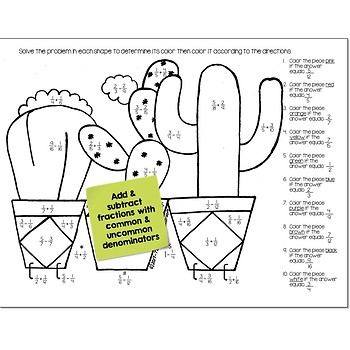 Add & Subtract Fractions Math Practice Cactus Color by Number