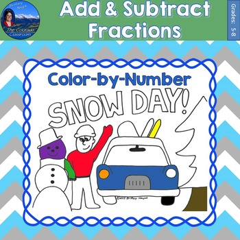 Add & Subtract Fractions Math Practice Snow Day Color by Number