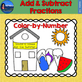 Add & Subtract Fractions Math Practice End of Year Color by Number