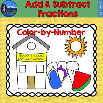 Add & Subtract Fractions Math Practice End of Year Color b