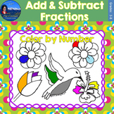 Add & Subtract Fractions Math Practice May Flowers Color b