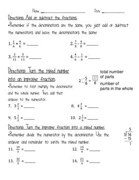 Add & Subtract Fractions, Mixed Numbers & Improper Fractio