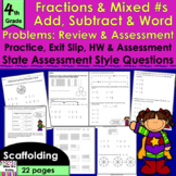 Add & Subtract Fractions, Mixed Numbers & Word Problems: R