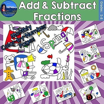 Add & Subtract Fractions Monthly Color by Number Pages