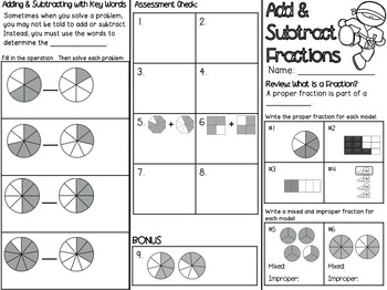 Add & Subtract Fractions Powerpoint & Guided Notes