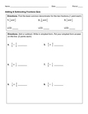 Add & Subtract Fractions: Quiz